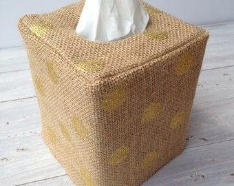 Gold Polka Dot Burlap natural tissue box cover