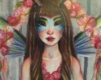 Deer Little Girl, framed photo print,original illustration print, australian seller, australian artist, pink, kim turner art, Deer Art