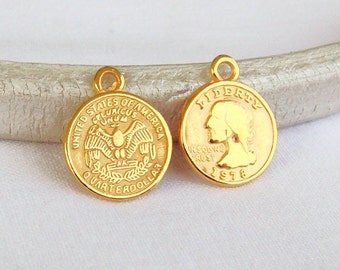 Gold Plated Tiny Quarter Dollar Coin Charm American Coin 13x15mm  - 2pcs