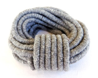 Grey Gray Wrapped Thread Cotton Cord, Covered Cording Fibre Wrap Cord, Fiber Fabric Wrap Cord, Semisoft Cord, 6 mm - 1Yard/ 92cm (1 pc)