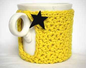 Mug Cozy, Cup Cosy and Coaster Crochet Yellow with Star Button