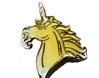 UNICORN mystical beauty vintage enamel pin  1980s brony bronies my little pony
