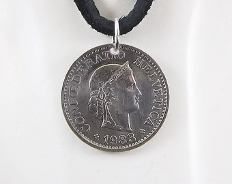 Swiss Coin Necklace, 10 Rappen, Coin Pendant, Leather Cord, Mens Necklace, Womens Necklace, Birth Year, 1983