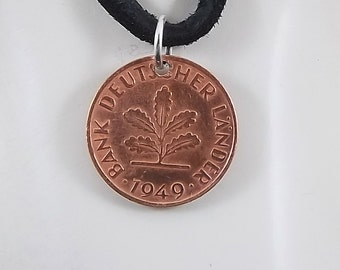German Coin Necklace, 1 Pfennig, Coin Pendant, Leather Cord, Mens Necklace, Womens Necklace, Birth Year, 1949