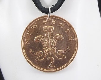 England Coin Necklace, 2 Pence, Coin Pendant, Two Pence, Leather Cord, Mens Necklace, Womens Necklace, Birth Year, 1979