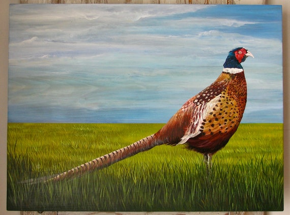 Pheasant in the Field original painting on repurposed wood