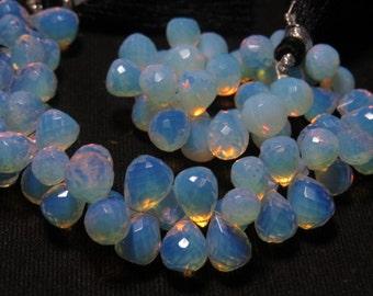 8 inches -  Amazing - Gorgeous - Opalaite  Color - Quartz Super Sparkle - Faceted Tear Drops Briolett Huge Size - 7 - 10 mm Long