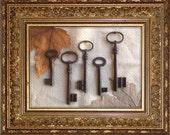 Large Vintage Ornate Keys - 5 Old French Keys - Vintage Iron Skeleton Keys.(P-17a)