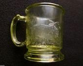 Rare EAPG 1886 Rabbit Sitting Central Glass Mug Canary/Maganese Glows Yellow