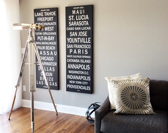 Typography Canvas Print, 20x60, Personalized, Words on Canvas, Photo Canvas, Subway Sign, Canvas Print, Photo on Canvas, Photo Collage, Art