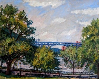 The Henry Hudson Bridge From Inwood Hill Park. 16x20 Plein Air Impressionist Oil Painting, Realist NYC Landscape, Signed Original Fine Art