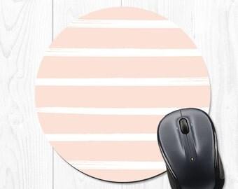 Pink Mouse Pad - Pink Mousepad - Striped Mousepad - Striped Mouse Pad - Pink Mouse Mat - Stripes - Pink and White Mouse Pad - Mousepad