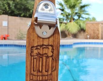Wall Mounted Beer Bottle Opener With Cap Catcher Beer Mug Carved