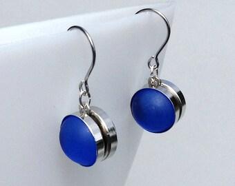 Blue times two: Double-sided Nebula earrings