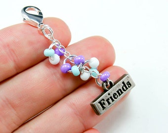 Best Friends Charm. Cute Beaded Keychain for Best Friends. Custom Friends Keychain.BRC013