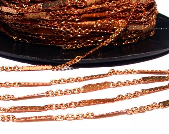 3 / 6 meters (9.82') 1.9mm x 1.2mm  solid raw Brass cable chain with bar spacer soldered - red brass