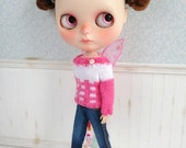 Pink and White Butterfly Sweater for Blythe Doll