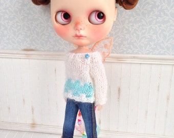 White and Blue Butterfly Sweater for Blythe Doll