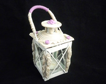 Fairy lantern party or wedding decor embellished with polymer clay