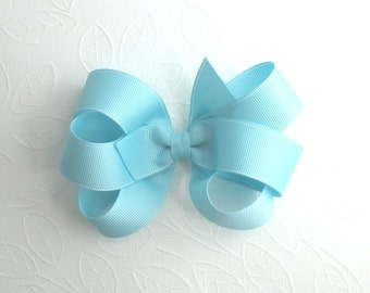 CLEARANCE ~ Pastel Baby Blue Boutique Hair Bow, 4.5 inch Large Blue Hair Bow, Loopy Hair Bow, Toddler Hair Bow, Pinwheel Hair Bow