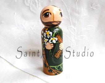 Saint Joseph Catholic Saint Doll - Peg Toy - Made to Order