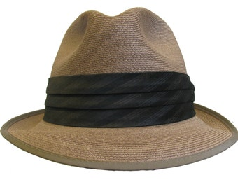 Vintage 1950s Mens Straw Summer Genuine Milan Imported Fedora Hat Size 6 7/8 Fits Mns US Size Small