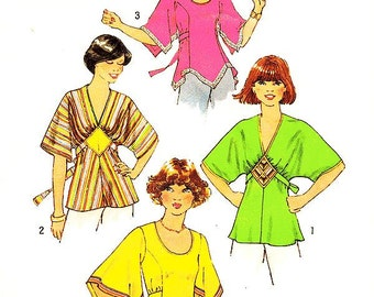 "Misses' Boho Tunic Top In Three Variations - Sz 14/Bust 36"" - Vintage 70s Top Pattern - Simplicity 7983"