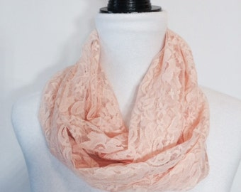 Peach Lace Infinity Scarf