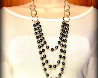 Necklace - Triple Strand of Pearls