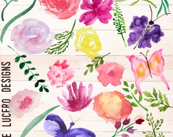 25 Watercolor hand painted Botanical PNG overlays - Flowers, Butterflies, leaves and roses