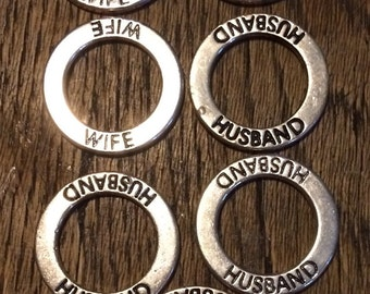 """CLEARANCE: affirmation word rings- """"Husband"""" and """"Wife"""""""