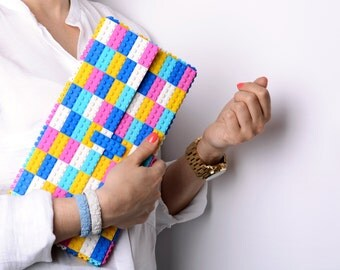 Oversize candy multicolor clutch made entirely of LEGO bricks FREE SHIPPING