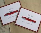 Classic Car Thunderbird Happy Father's Day or Birthday, Handmade Greeting Card, Car Lover