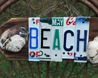Summer Sign Beach Sign Nautical Shells Netting Arrow License Plate Wood Sign