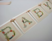 """Baby Shower Banner Decoration Vintage Floral and Vine Design in a Luxury 3 Layered Banner The Wording is """"Baby"""" for Baby Girl Shower"""