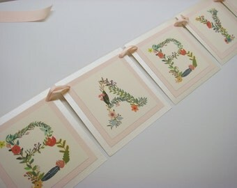 """Baby Shower Banner Vintage Floral Lettering Luxury 3 Layered Design Wording is """"BABY"""" for Baby Girl Shower"""
