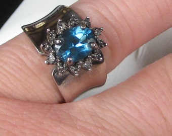 Great Estate Signed Sterling Silver Blue Topaz Ring