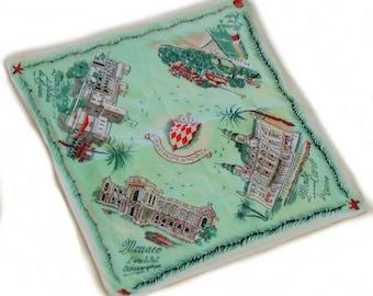 Vintage 40s-50s Monaco Souvenir Handkerchief/ Hankie/ Hankerchief /Shabby chic/Bohemian Chic/Mid Century