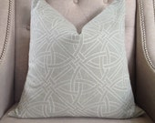 """Matthew Patrick Smith for Schumacher Durance Embroidery in mineral - 20""""x20"""" - Pattern on the front"""
