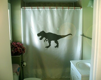 Tyrannosaurus Rex Shower Curtain Jurassic Era dinosaur extinct fossil T-Rex dino fun kid bathroom decor bath curtains custom size long wide