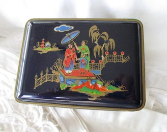 Blue Daher vintage DECORATIVE TIN - gold, floral, Asian, Made in ENGLAND