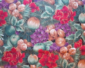 fabric by the yard - holiday flowers and fruit with metallic gold, all cotton - A Special Occassion RJR fabrics 2006 - 44 inches wide