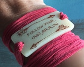 Follow your arrow fused glass Serenity wrap bracelet on hand dyed silk ribbon
