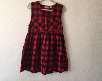 PLAID print dress large