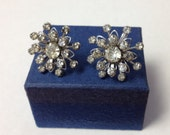 Vintage 1950s Rhinestone Earrings / Screw On Earrings / Marked BN for Bugee and Niles / Mid Century Costume Jewelry