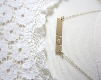 Personalized gold bar necklace, handstamped personalized jewelry
