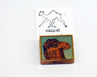 Victorian Antique Rubber Camel Stamp Color Litho Graphic Wood Block Mixed Media Art Supplies Animal