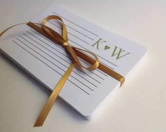 Recipe Cards- Hand Stamped with Custom Initials, Bridal Shower Gift