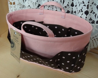 Purse ORGANIZER Insert Shaper / Bag Organizer / With Handles / Pink & Brown Polka Dot On Pastel Pink / Size SMALL / Sturdy / Ready to Ship