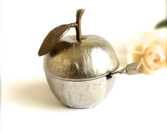 Pewter Apple Jam Jar with Enamel interior Sugar pot with spoon